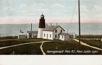 Rhode Island  Lighthouse postcard  1907  Point Judith  Narragansett Pier RI