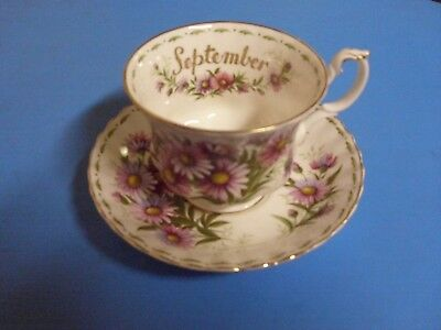 Royal Albert Bone China Tea Cup + Saucer Flower Of The Month Series September