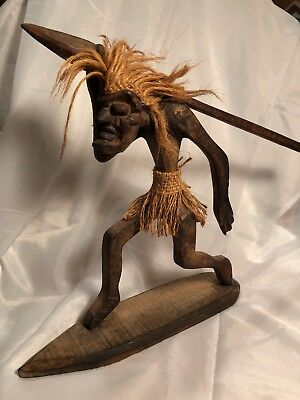 Hand Carved African Man with Spear Wooden Figurine Carving Tribal Art