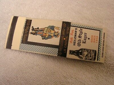 Heileman's Old Style Lager Match Book Cover Steinie Bottle La Crosse Wisconsin