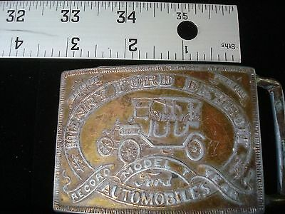 BELT BUCKLE Henry FORD Detroit Model T Auto Record Year Metal Vintage Numbered B