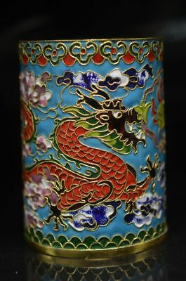 Exquisite Cloisonne Manual Pinch Silk Double Dragon Play Bead Pen Container