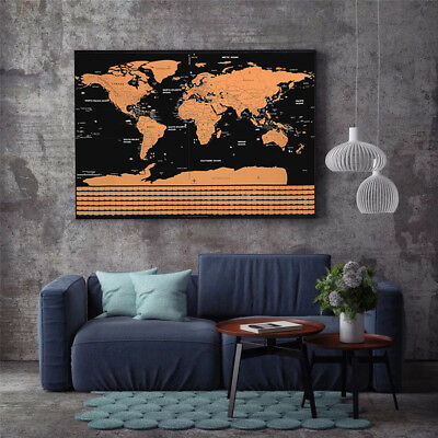 Scratch Off World Map Poster with States & Country Flags Xmas gift CA NEW