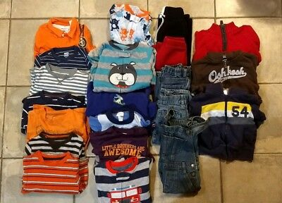 Lot of 24 Piece Toddler Boys Clothes Shirts Pajamas Jackets Jeans Size 3T