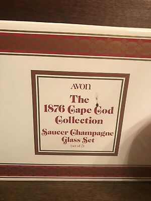 Avon 1876 Cape Cod Collection Red Saucer Champagne Glasses Set New Set Of 2