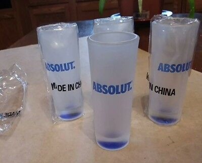 Set of (4) Absolut Vodka Shotglasses Whiskey Shooter Frosted Glass NEW