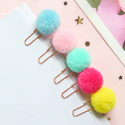 5pcs/lot Plush Ball Paper Clips Bookmark DIY Office School Clip Kid Xmas Gift ~