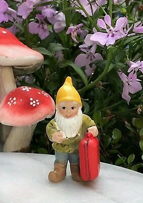 Miniature Dollhouse FAIRY GARDEN ~ Mini GNOMELAND Gnome Figurine w Red Suitcase