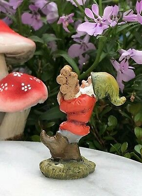 Miniature Dollhouse FAIRY GARDEN ~ Mini GNOMELAND Gnome Figurine w Stack of Wood
