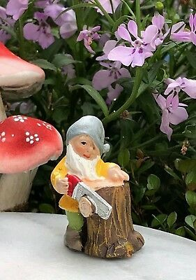 Miniature Dollhouse FAIRY GARDEN ~ Mini GNOMELAND Gnome Figurine w Saw on Stump