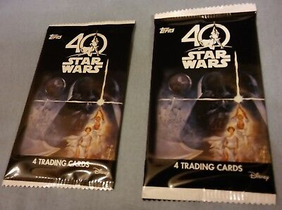 Star Wars 40th Anniversary Topps Trading Cards, 2 unopened packs, 8 cards total