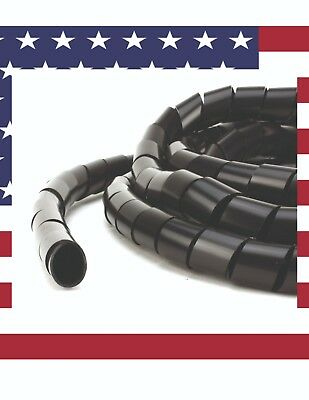 PE-Polyethylene-Spiral-Cable-Wire-Wrap-Split Loom Tube-Black- Full 32 Foot Rolls