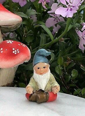 Miniature Dollhouse FAIRY GARDEN ~ Mini GNOMELAND Yoga Gnome Figurine Lotus Pose