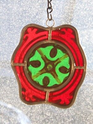"""Architectural Salvage Stained Glass, 1920's Rosette """"Christmas Ornament"""""""