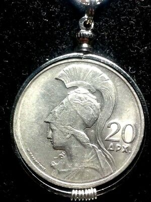 Goddess Athena/Phoenix Genuine Greek Greece Coin Pendant necklace 31mm Sharp Big