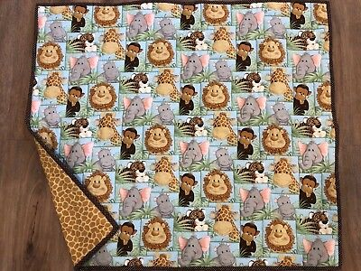 HANDMADE Jungle Babies QUILT Baby Toddler 35 X 41 NEW Hand Quilted