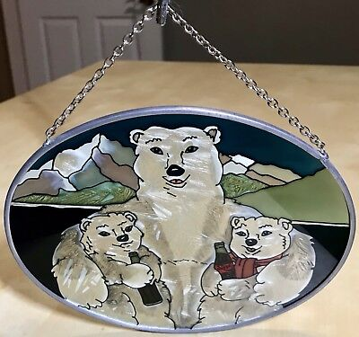 "Vintage Coca Cola 7"" Stained Glass Polar Bear Family Ad Advertising Sign RARE!!!"