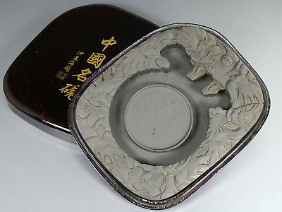 Chinese OLD INK STONE 沙孟海題 / W 18× D22.5 × H 3.3 [cm] 2410g