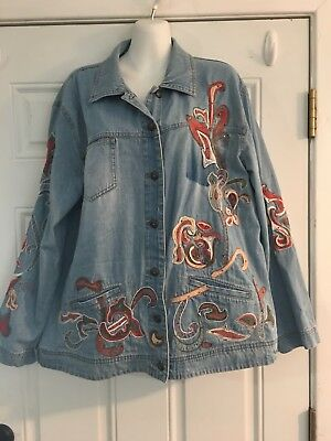 Chicos Womens Vtg Brown Embroidered Beaded Artsy Button Collar