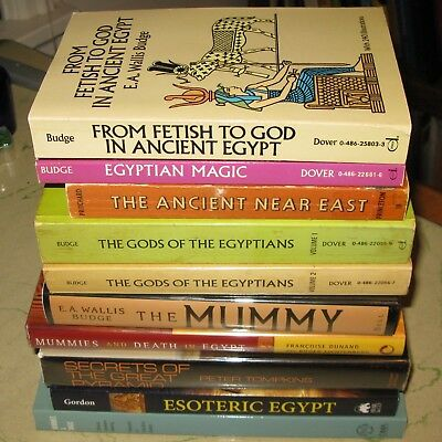 ANCIENT EGYPTIAN Lot 9 Books Magic Mummies Death Occult Pyramids Magick Egypt