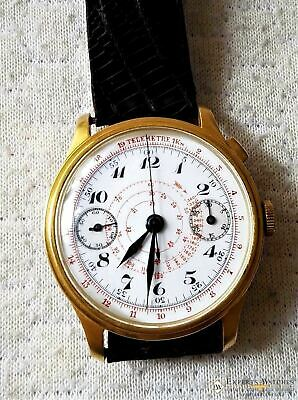 Vintage Monopusher Hahn Column Wheel Chronograph Gold Plated  Watch 38mm Leather