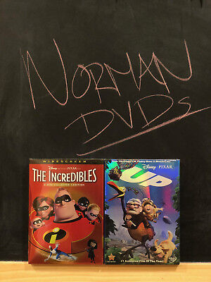 DISNEY Pixar's THE INCREDIBLES DVD + UP DVD 2 DVDS BRAND NEW