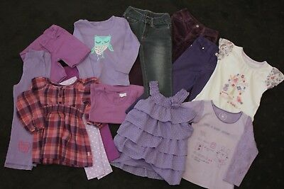 Size 3 Girls Bulk Lot Purple Jeans Leggings Long Short Tops incl Pumpkin Patch