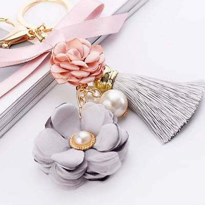 Flowers Keychain Key Ring Key Chain Gold Color Chain Bag Charm Pendant Jewelry