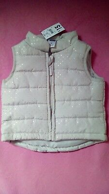 Kids & Co Baby Girls size 0 grey with gold polka dots Puffer Vest Brand New