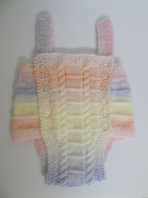 Hand Knitted Baby Romper Pastel Rainbow 0-3 months Baby Girl Cable Design Lovely