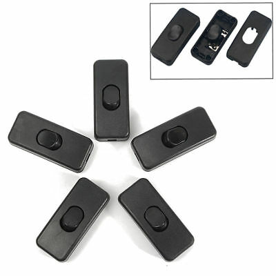 5Pcs/set Black Inline ON/OFF Table Lamp Desk Light Cord Cable Switches