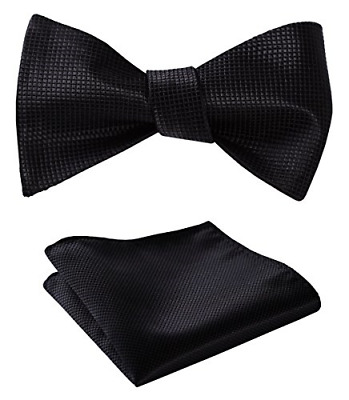 Mens Solid Jacquard Woven Self Bow Tie Set One Size Black