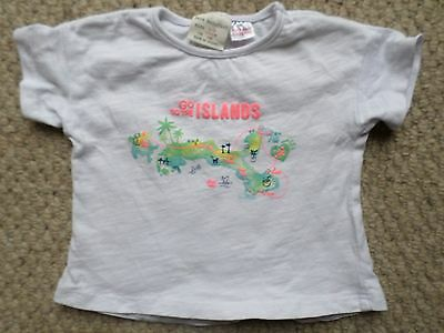 """Zara BabyGirl White """"Go to the Islands"""" T-Shirt Top Age: 3-6 Months"""