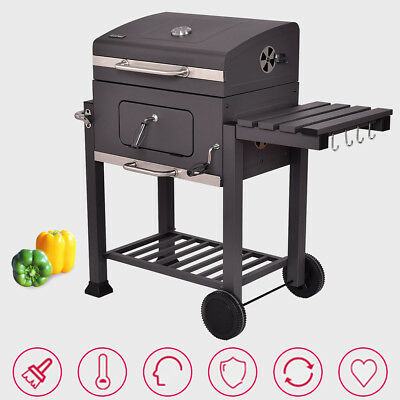 Barbecue Charcoal Grill Foldable Side Shelf Easy Rolling Spacious Bottom Storage