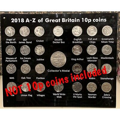 2018  A-Z 10p Acrylic Display Stand Case + Collector Medal ( NO 10p COINS)