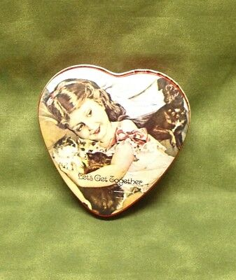 Vintage Heart Shaped Valentine's Day Tin, 1980 ENESCO Hong Kong