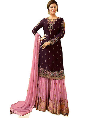 Indian Designer Georgette Stitched Partywear Purple Dress Salwar Kameez