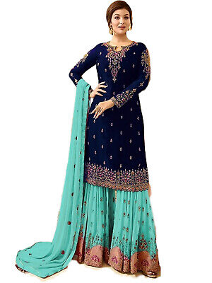 Indian Designer Georgette Stitched Partywear Dress Navy Blue Salwar Kameez