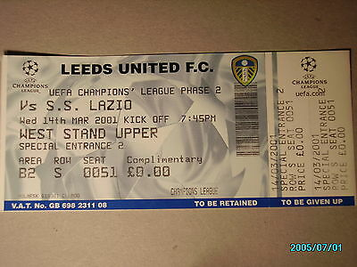 Leeds United F.c--S.s.lazio Uefa Champions League 14 Mar.2001