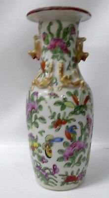 Antique Famille Rose Export Ware Porcelain Mandarin Vase Hand Painted