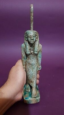 Ancient Egyptian Antique Egypt Statue Of Goddess Maat Blue Glazed EGYPT Stone BC