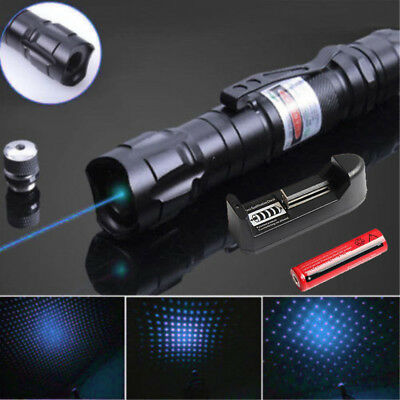 New Blue Laser Pointer Pen 50Miles 532nm Visible Beam+Star Cap+Battery+Charger