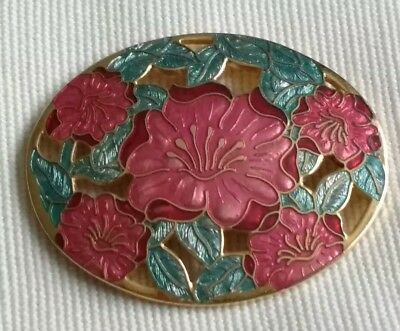 Vintage Jewellery Cloisonne Enamel Flower Poppy? Gold Tone Oval Brooch