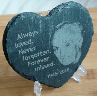 Photographs engraved onto slate for remembrance and loss. Memorial Heart Stone