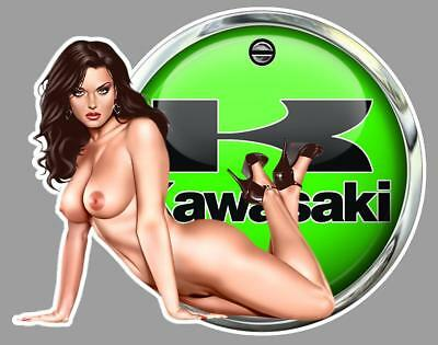KAWASAKI PIN UP  left Sticker gauche
