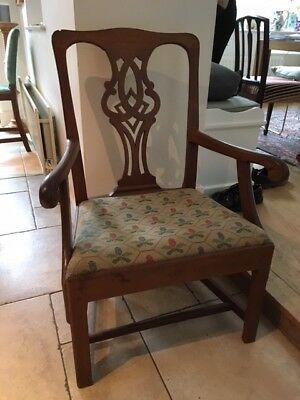 Antique Oak Chippendale Style Arm Chair Tapestry Edwardian / Arts and Crafts