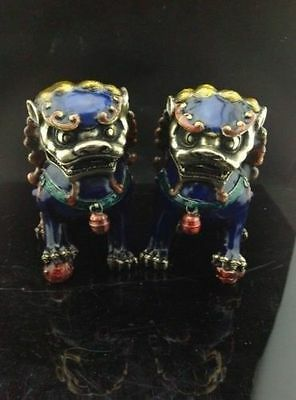 A pair Chinese antique cloisonne copper hand-carved lion statue
