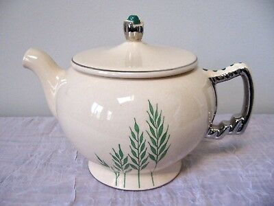 VINTAGE 1930s ART DECO LEIGH POTTERS TEAPOT UMBERTONE WITH GREEN FLORAL DESIGN