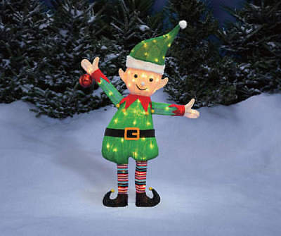 Light Up Elf Decoration Tinsel Sculpture Yard Outdoor 38 inch Christmas IN HAND