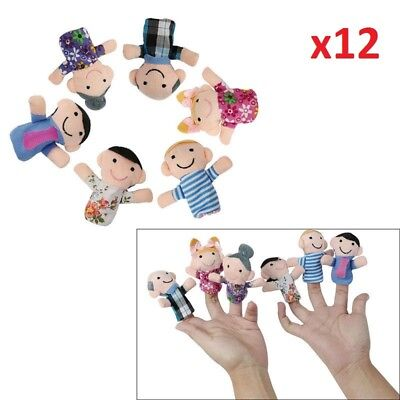 12 x FAMILY FINGER PUPPETS CLOTH DOLL CHILDREN EDUCATIONAL STORY CHRISTMAS TOY